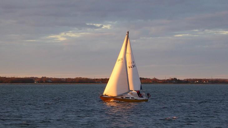 Martha på vej til Løgstør havn en smuk solskinsaften i april