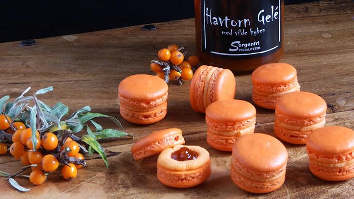 macarons med havtorn gelé