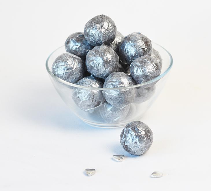 romkugler med sølv glimmer