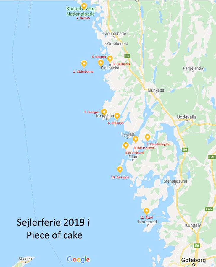 Kort over de steder vi sejlede til og overnattede sommeren 2019
