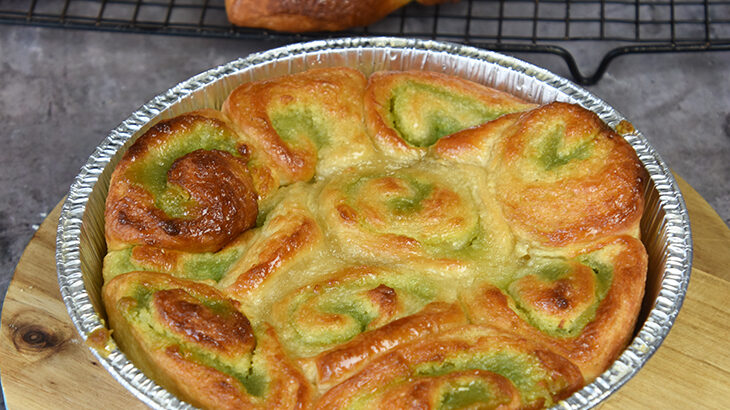 morgenkage lavet af croissantdej og pistaciemasse