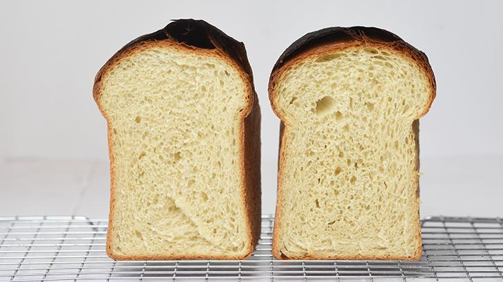 Min egen lille test af bageenzymer - på billedet er 2 brød, det ene har tilsat bageenzymer